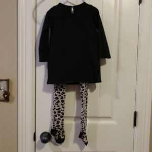 NWT MUD PIE BLACK AND GOLD TUNIC WITH LEOPARD TIGHTS SIZE 3T